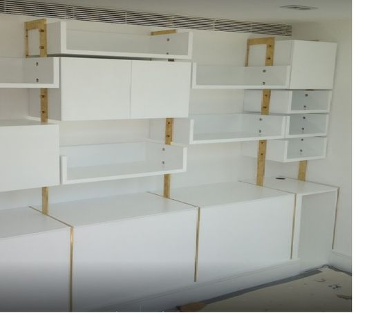 brass mdf shelf units